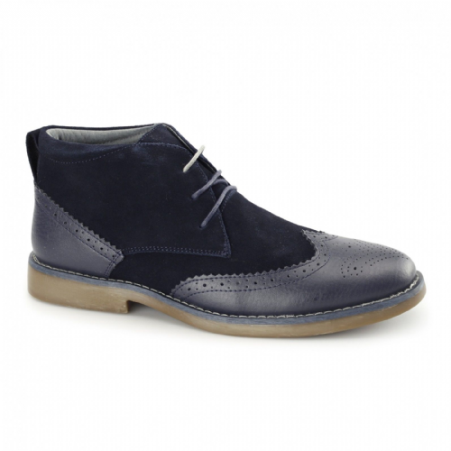 Front Navy Suede Leather Mens Chukka Boots Designer Smart Casual RRP £80